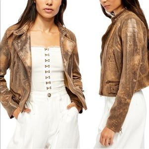 Free People Snake Embossed Faux Leather Jacket
